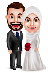 Muslim couple vector characters as bride and groom wearing white wedding dress holding bouquet standing side by side isolated in white background. Vector illustration.