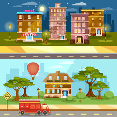 Cityscape night and day city town life banner