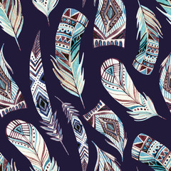 Abstract watercolor tribal feathers seamless pattern
