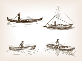Water transport hand drawn sketch vector