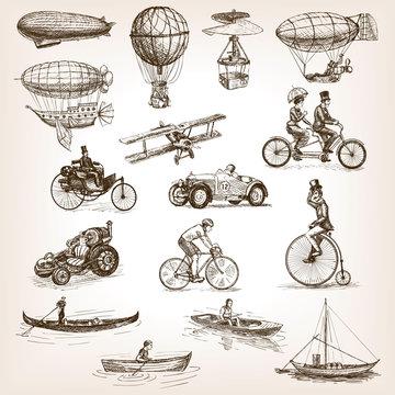 Vintage transport set sketch style vector