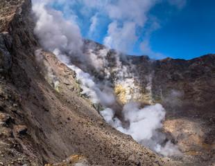 Steamy fumaroles inside Mutnovsky Volcano crater, Kamchatka, Russia