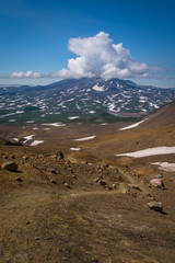 Rocky path on the slopes of Mutnovsky Volcano, Kamchatka, Russia