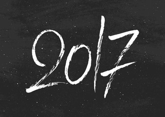 Happy New Year 2017 vector vintage background with lettering and black chalkboard. Greeting card template.