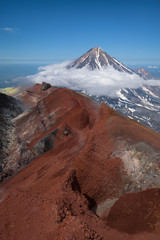 Top of Koryaksky Volcano seen from Avachinksy Volcano, Kamchatka, Russia