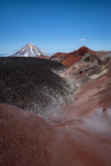 Avachinsky Volcano crater with the top of Koryaksky Volcano in the background, Kamchatka, Russia