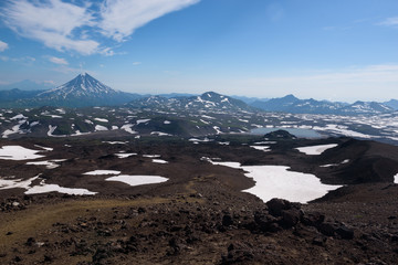 Top of Vilyuchinskaya volcano and mountain lake from Gorely Volcano, Kamchatka, Russia