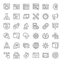 seo and web development line iconset
