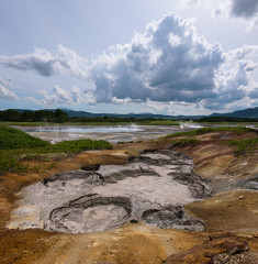 Hotsprings and mudpots between the vegetation of Uzon Caldera, Kamchatka, Russia