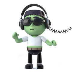 3d Child Frankenstein listens to music on his headphones