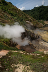 Bolshoy (large) Geyser erupting in Valley of Geysers, Kamchatka, Russia