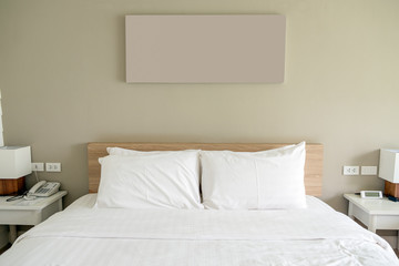 White bedroom on wood and object decoration