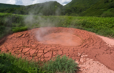 Krasnyy (Red) Mudpot in Valley of Geysers, Kamchatka, Russia
