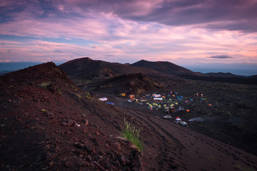 Sunset at the Tolbachik Volcano basecamp, Kamchatka, Russia