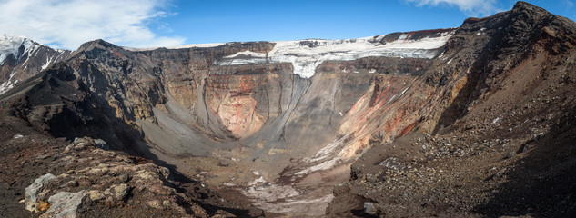 Panoramic view into the crater of the Tolbachik Volcano, Kamchatka, Russia