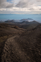 Path leading through the extraterrestrial landscape around Tolbachik Volcano, Kamchatka, Russia