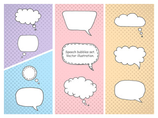 Colorful Comic Book Speech Bubbles vector set. Hand drawn speech bubble elements. Comics pop-art style blank layout template background vector illustration