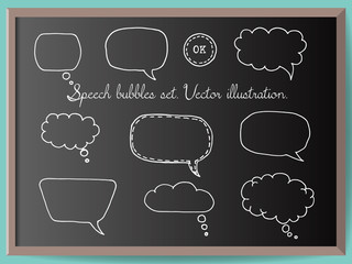 Hand drawn speech bubbles vector set on chalkboard. Doodle style decorative elemements for web design or infographic. Comics pop-art style blank layout template background vector illustration