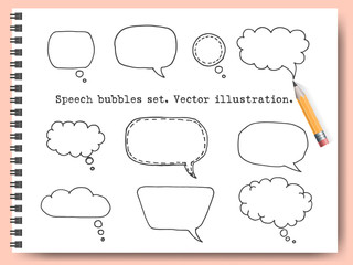 Speech Bubbles vector set with sketchbook on the background. Hand drawn speech bubble elements. Pen or pencil drawing set. Comics pop-art style blank layout template background vector illustration