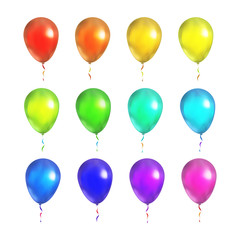 Set of bright colorful balloons isolated on white