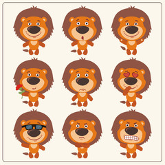 Vector set isolated emotion lion. Collection cute lion in cartoon style.