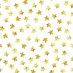 Abstract modern pattern with gold foil stars. Vector illustration. Shiny glamour background.