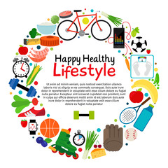 Healthy and active lifestyle vector card. Diet food and sport label with icons and text