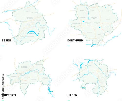 Wuppertal Karte Stadtteile.Karten Der Stadte Dortmund Essen Wuppertal Und Hagen