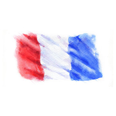 Hand-drawn watercolor flag of the France, isolated on the white background.