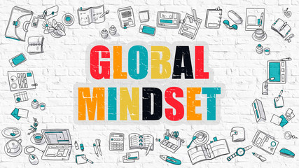 Global Mindset in Multicolor. Doodle Design.