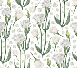 Handmade watercolor seamless pattern with white eustoma