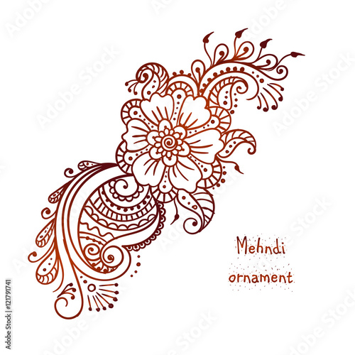 Mehndi Hand Outline : Quot vector ethnic mehndi pattern template for