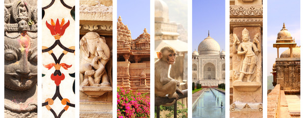 Collage with landmarks of India