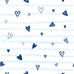 Heart background vector. Hand drawn hearts and lines. Marine style