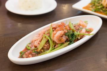 Yen Ta Fur Noodle Salad with Shrimp,Selective focus, Thailand food