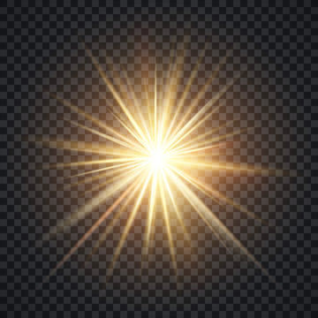 Vector realistic starburst lighting effect, yellow sun with rays and glow on transparent background