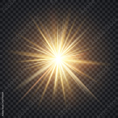 Vector realistic starburst lighting effect, yellow sun with