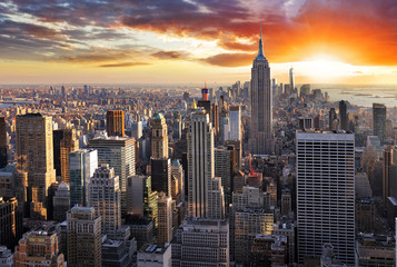 Spoed Foto op Canvas New York New York skyline at sunset, USA.