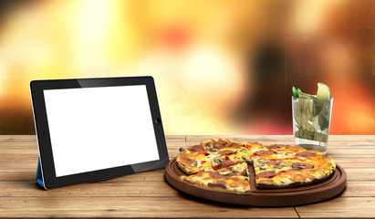 concept of online food ordering, food delivery, the food is clos