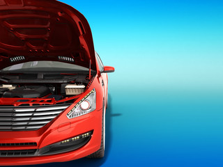open hood of a car with view of the engine 3d render on gradient