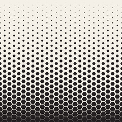 Vector Seamless Black and White Transition Halftone Hexagonal Grid Pattern