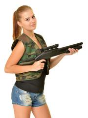 beautiful sexy girl holding gun.