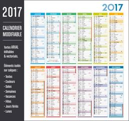 Calendrier 2017 modifiable (éléments isolés sur calques, textes en ARIAL éditables et vectorisés)