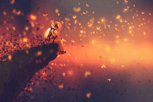 astronaut sitting on cliff's edge and looking to fireflies,illustration painting