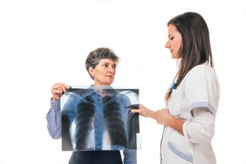 Doctor explaining to patient the xray image