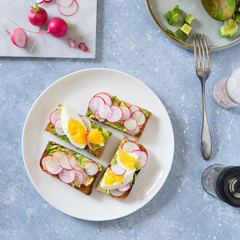 Avocado toast with radishes and boiled egg