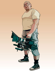 cartoon male videographer with video camera in hand
