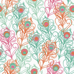 Seamless vector background with decorative peacock feathers. Cloth design, wallpaper.