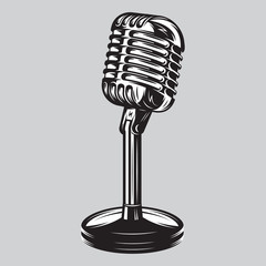 Vector illustration, poster of isolated retro, vintage microphone.