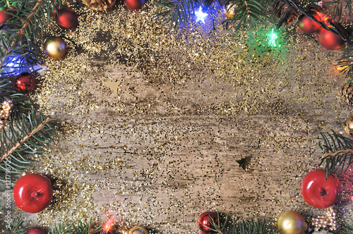 Fond Décoration De Noël Sur Bois